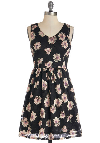 Flower Power of Two Dress - Tan / Cream, Floral, Casual, Festival, A-line, Sleeveless, Good, V Neck, Knit, Lace, Short, Pink, Black, Show On Featured Sale, Boho