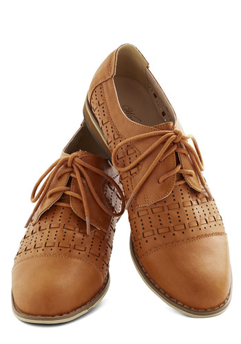 Chic Courtesy Flat - Low, Faux Leather, Solid, Woven, Better, Lace Up, Brown