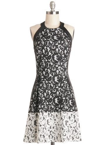 Dauntless Dance Steps Dress - Black, White, Backless, Lace, Special Occasion, Party, Halter, Better, Woven, Mixed Media, Lace, A-line, Mid-length