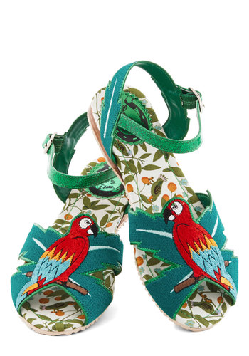 Gee Polly Sandal by Miss L Fire - Flat, Woven, Green, Multi, Print with Animals, Beach/Resort, Critters, Best, Statement, Summer, Bird, Woodland Creature