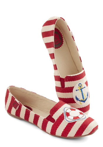Mariner Character Flat by Miss L Fire - Flat, Woven, Red, Tan / Cream, Stripes, Casual, Nautical, Spring, Summer, Better, Patch