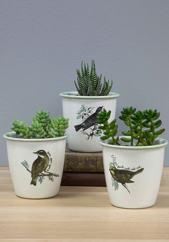 Peep On Chirping On! Herb Pot Set - Better, White, Print with Animals, Gals, Hostess, Critters, Bird, Woodland Creature