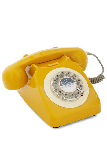 Ring True Desk Phone in Yellow - Yellow, 50s, Mid-Century, Better, Solid, Vintage Inspired, 60s