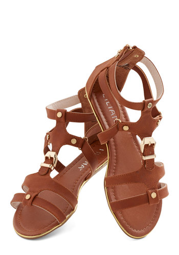 Diverging Paths Sandal - Flat, Faux Leather, Tan, Buckles, Studs, Boho, Summer, Good, Strappy, Festival