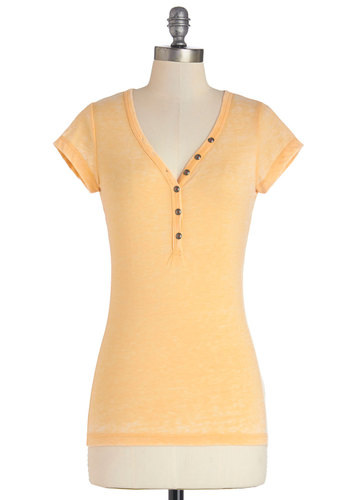 Carefree Time Top - Short Sleeve, Knit, Mid-length, Casual, Short Sleeves, Yellow, Solid, Buttons, Yellow, Pastel