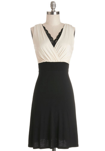 A Peek of Panache Dress - Tan / Cream, Black, Lace, Trim, A-line, Sleeveless, Good, V Neck, Knit, Mid-length, Party