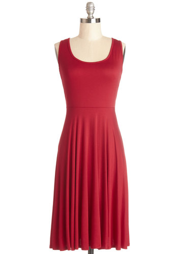 For Any Endeavor Dress in Red - Red, Solid, Casual, A-line, Sleeveless, Good, Scoop, Knit, Minimal, Variation, Top Rated, Long