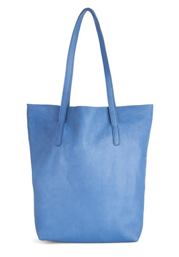 Just What I Knead Tote - Blue, Solid, Work, Minimal, Best, Blue, Leather, Beach/Resort, Travel, Spring, Social Placements