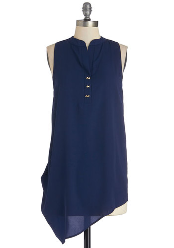 Bow Far, So Good Top - Woven, Long, Blue, Solid, Casual, Sleeveless, High-Low Hem, Sleeveless, Blue