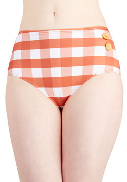 Pool Party Picnic Swimsuit Bottom in Orange Gingham