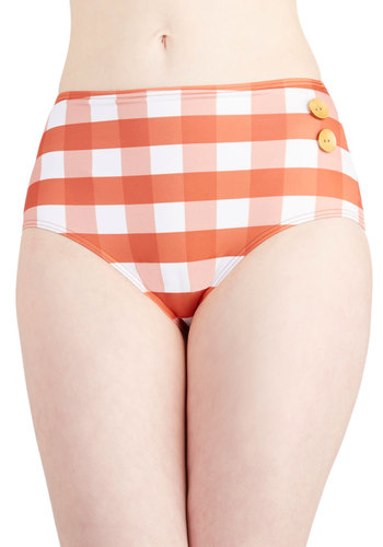 Pool Party Picnic Swimsuit Bottom in Orange Gingham - Knit, Checkered / Gingham, Buttons, Beach/Resort, Rockabilly, Vintage Inspired, High Waist, Multi, Orange, White, 40s, 50s, 60s, Summer, Exclusives, Variation, Americana