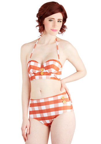 Pool Party Picnic Swimsuit Top in Orange Gingham - White, Checkered / Gingham, Buttons, Beach/Resort, Rockabilly, Vintage Inspired, Multi, Orange, 40s, 50s, 60s, Festival, Halter, Summer, Exclusives, Variation, High Waist, Americana, Boho