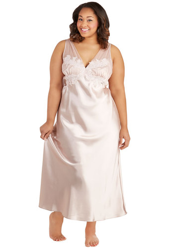 Sway My Name Slip Gown - Sheer, Satin, Woven, Pink, Solid, Wedding, Bride, Lace