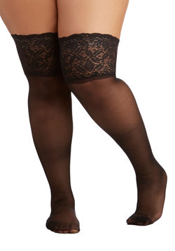 Stay in Lace Thigh Highs in Black - Plus Size