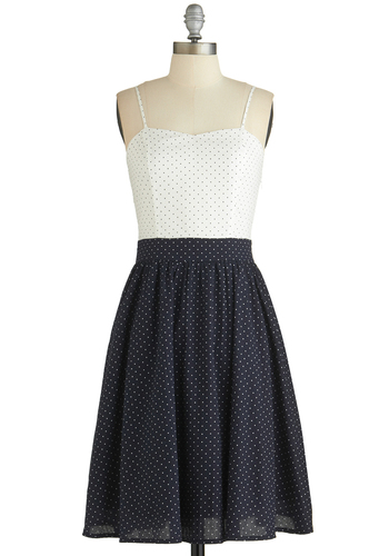 Lovely Locale Dress - Blue, White, Polka Dots, Casual, A-line, Woven, Good, Sweetheart, Pockets, Spaghetti Straps, Cotton, Long