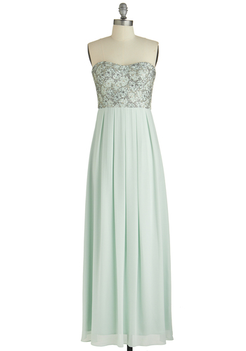Mint Magnificence Dress - Mint, Solid, Lace, Pleats, Sequins, Special Occasion, Prom, Pastel, Maxi, Strapless, Sweetheart, Woven, Wedding, Bridesmaid, Long, Chiffon