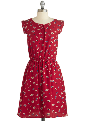 A Dance, by Chance? Dress - Red, Floral, Casual, A-line, Scoop, Tan / Cream, Cap Sleeves, Summer, Woven, Mid-length, Top Rated, Full-Size Run