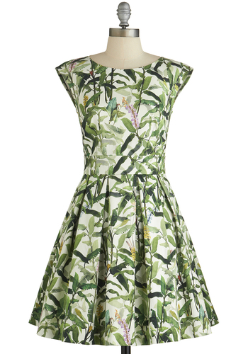 Fluttering Romance Dress in Flora by Closet London - Print, Pleats, Pockets, A-line, Cap Sleeves, Better, Green, White, Variation, Woven, Daytime Party, Top Rated, Mid-length