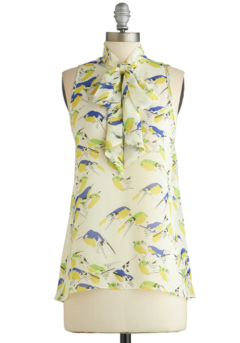 Cute Do You Do Top in Birds - Cream, Yellow, Green, Blue, Work, Sleeveless, Sheer, White, Sleeveless, Print with Animals, Spring, Tie Neck, Variation, Mid-length, Chiffon, Woven, Critters