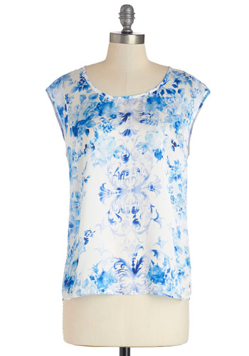 Sense of Community Top - Blue, Short Sleeve, Woven, Mid-length, Blue, White, Floral, Work, Cap Sleeves, Scoop