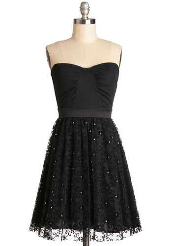 Classy Hour Dress - Woven, Short, Black, Solid, Lace, Rhinestones, Prom, Party, A-line, Strapless, Good, Sweetheart, Homecoming, LBD, Special Occasion