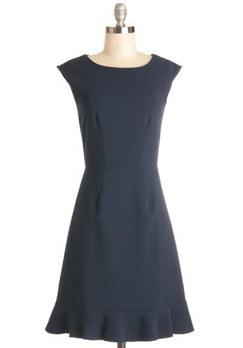 Press Junket Dress by Closet London - Blue, Solid, Party, A-line, Cap Sleeves, Better, Scoop, Woven, Exposed zipper, Mid-length