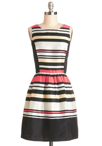 Candy Cordial Class Dress by Kensie - Woven, Multi, Stripes, Party, A-line, Sleeveless, Better, Press Placement, Mid-length