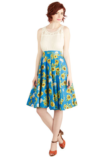 Sunflower Sunset Skirt - Cotton, Blue, Floral, Daytime Party, Rockabilly, Pinup, Vintage Inspired, 50s, Summer, Casual, Spring, Better, Blue, Full, Good, Long