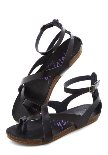 Soak Up Some Sun Sandal in Black - Low, Faux Leather, Black, Better, Strappy, Solid, Casual, Festival, Variation, Summer, Boho