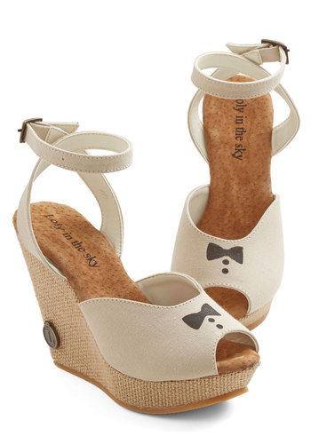 Supper Club Wedge - High, Woven, Tan, Cream, Print, Wedding, Party, Spring, Summer, Platform, Wedge, Espadrille, Peep Toe