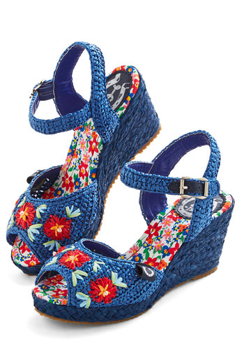 Cabana Band Wedge by Miss L Fire - Woven, Blue, Floral, Woven, Daytime Party, Spring, Summer, Best, Wedge, Peep Toe, Mid, Statement
