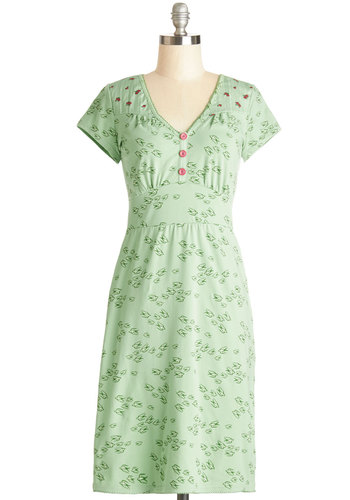 Ornithology Expertise Dress by Blutsgeschwister - Green, Red, Print with Animals, Buttons, Casual, Shift, Cap Sleeves, Better, International Designer, V Neck, Cotton, Knit, Mid-length, Critters, Pastel, Bird, Woodland Creature