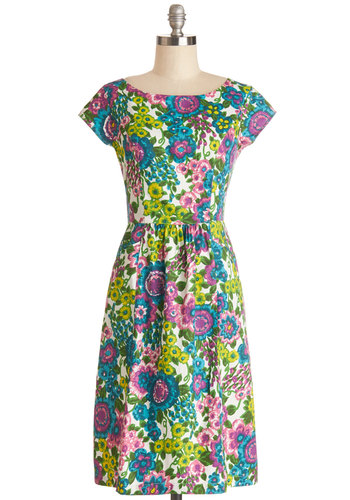 Pleasant Potpourri Dress by People Tree - Green, Blue, Purple, Floral, A-line, Spring, Better, Scoop, Cotton, Long, Multi, Pockets, Daytime Party, Eco-Friendly, Cap Sleeves, Woven