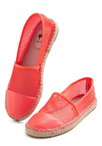 Vibrance Upon a Time Flat - Low, Faux Leather, Woven, Orange, Solid, Cutout, Casual, Summer, Espadrille, Coral, Neon