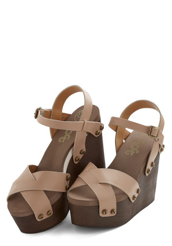 Trip to Toronto Sandal - High, Leather, Solid, Daytime Party, Beach/Resort, Spring, Summer, Best, Wedge, Strappy, Tan, Brown, Vintage Inspired, 60s, 70s, Platform