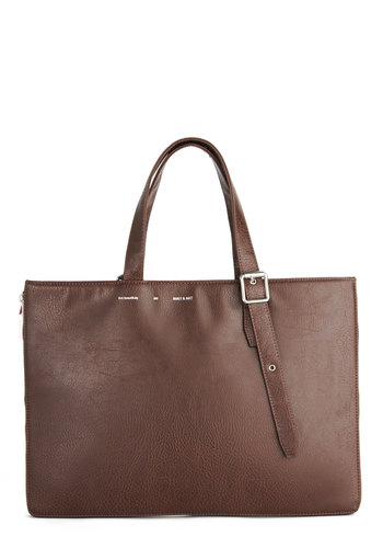 Runway It By Me Tote - Faux Leather, Brown, Solid, Work, Brown, International Designer, Minimal
