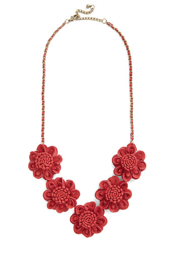 Marvelous, Dahlia Necklace - Red, Solid, Flower, Statement, Good, Faux Leather, Gals, Social Placements