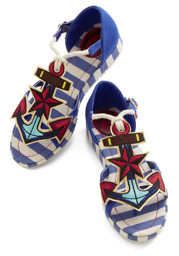 Questions and Anchors Sandal by Miss L Fire - Multi, Beach/Resort, Nautical, Low, Woven, Blue, Stripes, Novelty Print, Rockabilly, Statement, Summer