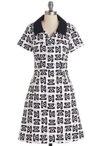 You Called It Dress by Bea & Dot - Woven, Long, Black, Novelty Print, Pockets, Casual, A-line, Short Sleeves, Collared, Multi, White, Vintage Inspired, 60s, Mod, Exclusives, Private Label, Show On Featured Sale