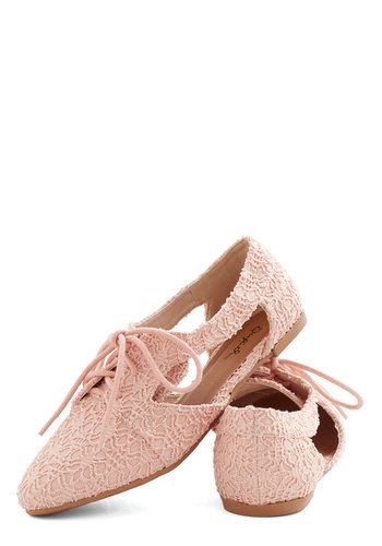 Impromptu Good to Be True Flat - Flat, Woven, Pink, Solid, Crochet, Cutout, Casual, Spring, Summer, Lace Up, Pastel