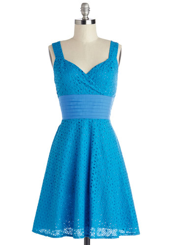 Color is Key Dress - Blue, Solid, Eyelet, Pleats, Ruching, A-line, Sleeveless, Better, Sweetheart, Chiffon, Woven, Mid-length, Sundress, Casual