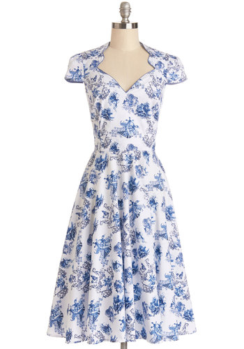 Toile or Nothing Dress - Cotton, Woven, Long, Blue, White, Party, A-line, Cap Sleeves, Better, Novelty Print, Sweetheart