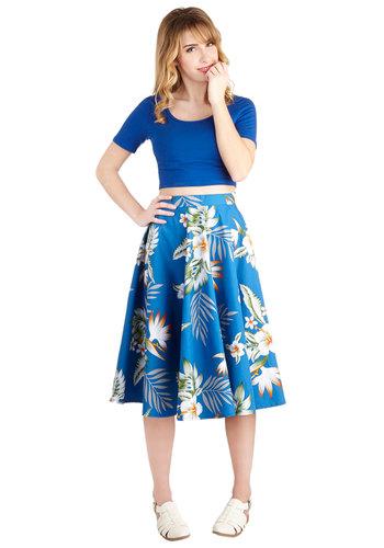 Coastal Break Skirt - Blue, Floral, Daytime Party, Beach/Resort, Pinup, Vintage Inspired, 50s, International Designer, Cotton, Blue, Summer, Full, Long