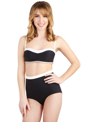 A Sunset Dip Swimsuit Top by Scandale - International Designer, Black, Tan / Cream, White, Solid, Beach/Resort, Vintage Inspired, 50s, Colorblocking, Strapless, Spaghetti Straps, Summer, Best, Knit, 60s, Minimal, High Waist