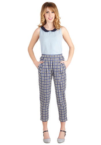 Wiki Editor Pants by People Tree - Cotton, Blue, Plaid, Pleats, Pockets, Work, Vintage Inspired, High Waist, Cropped, Tapered Leg, Better, High Rise, Capri, Blue, Non-Denim, Woven, Menswear Inspired, Eco-Friendly