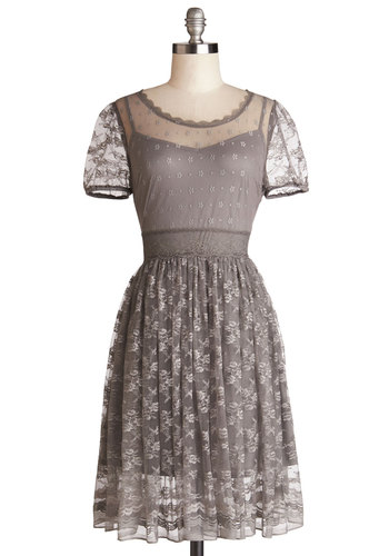 Pretty Pastries Dress - Grey, Solid, Lace, Daytime Party, A-line, Short Sleeves, Scoop, Sheer, Knit, Lace, Wedding, Bridesmaid, Mid-length, Full-Size Run