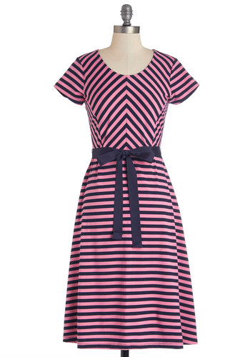 Baker's Choice Dress in Strawberry - Knit, Blue, Pink, Stripes, Chevron, Belted, Casual, A-line, Short Sleeves, Good, Scoop, Variation, Top Rated, Long