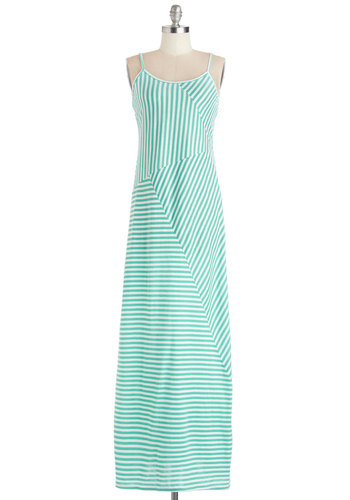 Bright Glide of Life Dress - Knit, Long, White, Mint, Stripes, Casual, Maxi, Spaghetti Straps, Good, Scoop, Summer