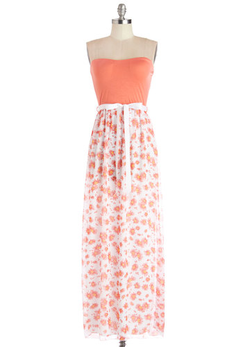 Wouldn't Petal for Less Dress - Floral, Casual, Maxi, Strapless, Summer, Good, Long, Coral, White, Belted, Chiffon, Woven