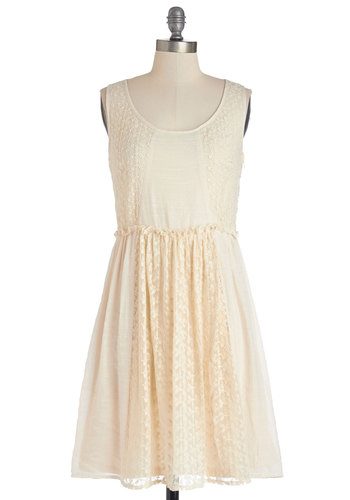 Coffee and Croissants Dress - Woven, Mid-length, Cream, Solid, Cutout, Lace, A-line, Sleeveless, Better, Scoop, Casual